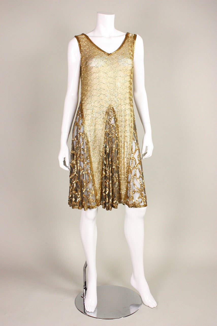 1920's Gold Beaded & Sequined Dress For Sale 1