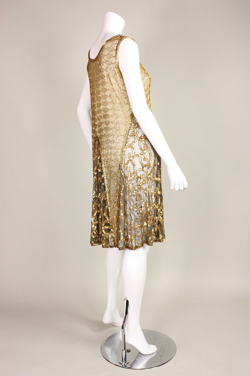 Women's 1920's Gold Beaded & Sequined Dress For Sale