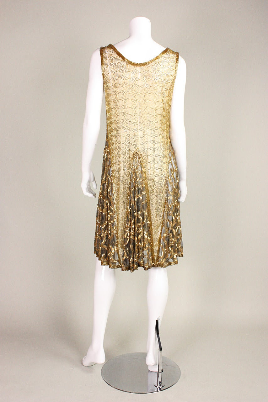 1920's Gold Beaded & Sequined Dress For Sale 2