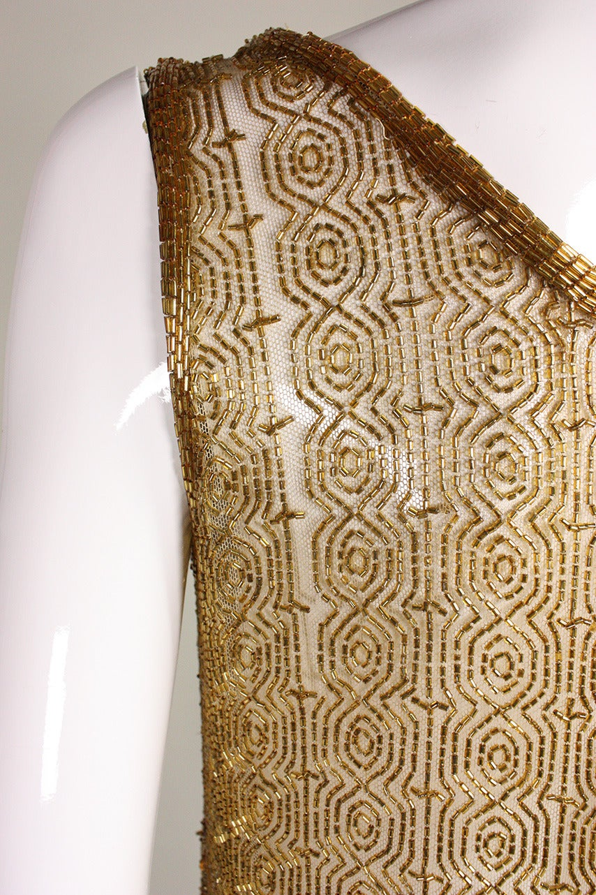 1920's Gold Beaded & Sequined Dress For Sale 3
