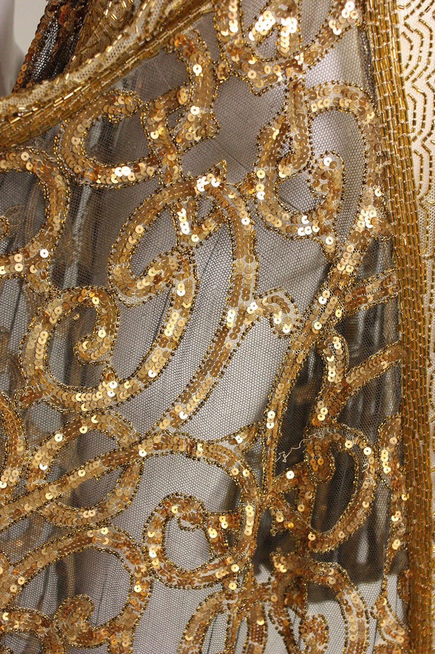 1920's Gold Beaded & Sequined Dress For Sale 6