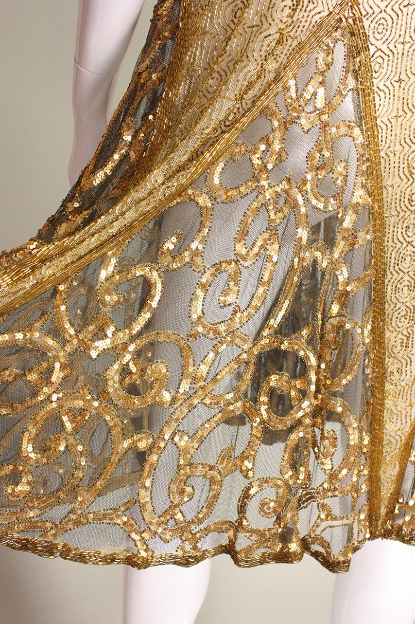 1920's Gold Beaded & Sequined Dress For Sale 5
