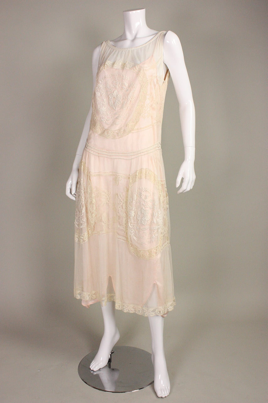 1920's Embroidered Net & Filet Lace Dress 2