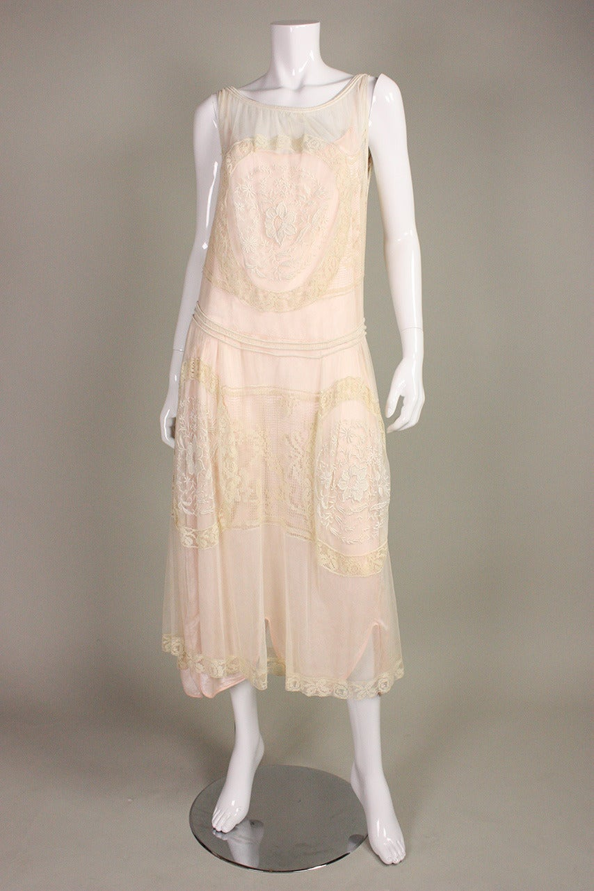 1920's Embroidered Net & Filet Lace Dress 3