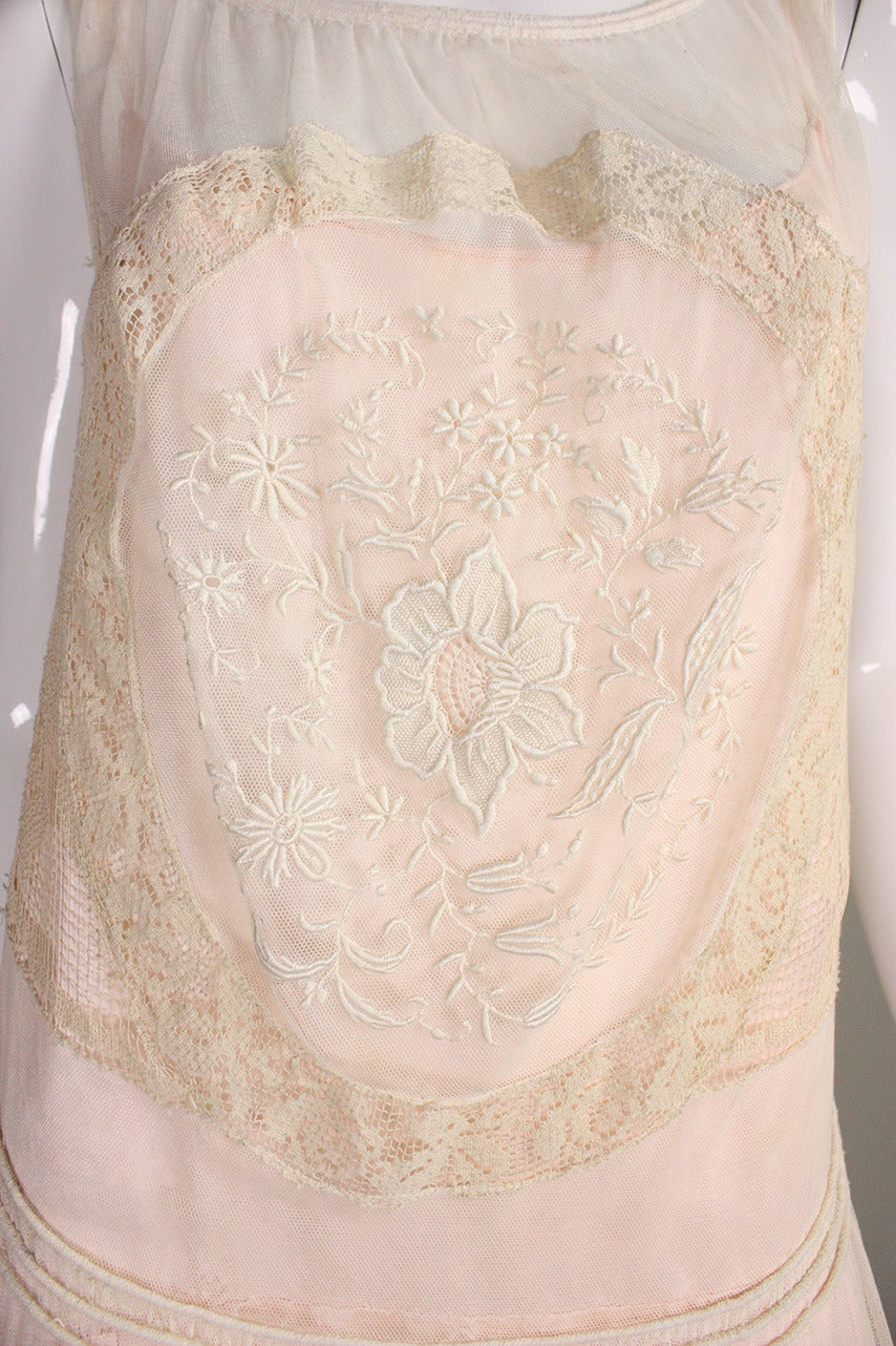 1920's Embroidered Net & Filet Lace Dress 7