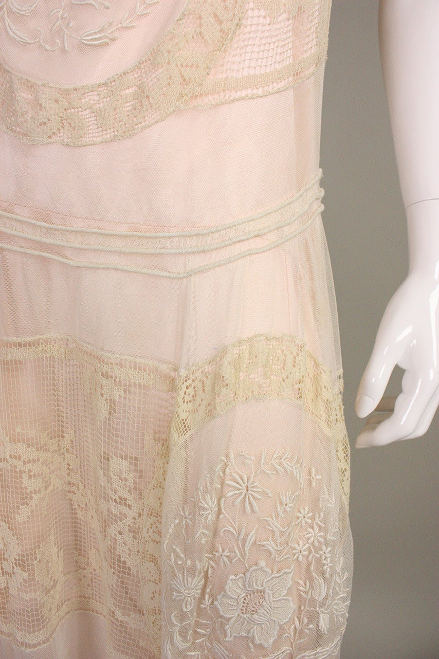 1920's Embroidered Net & Filet Lace Dress 8