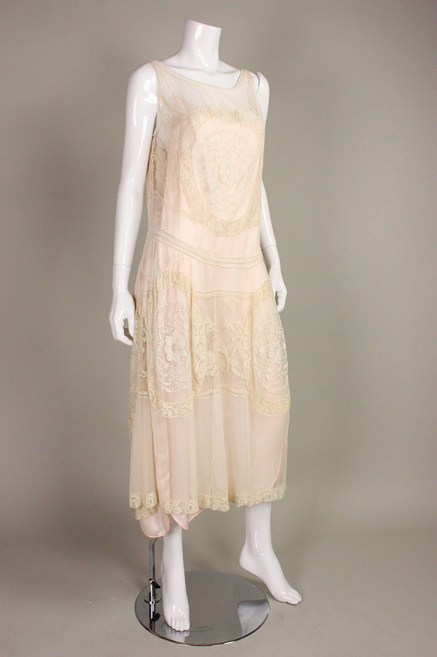 1920's Embroidered Net & Filet Lace Dress 4
