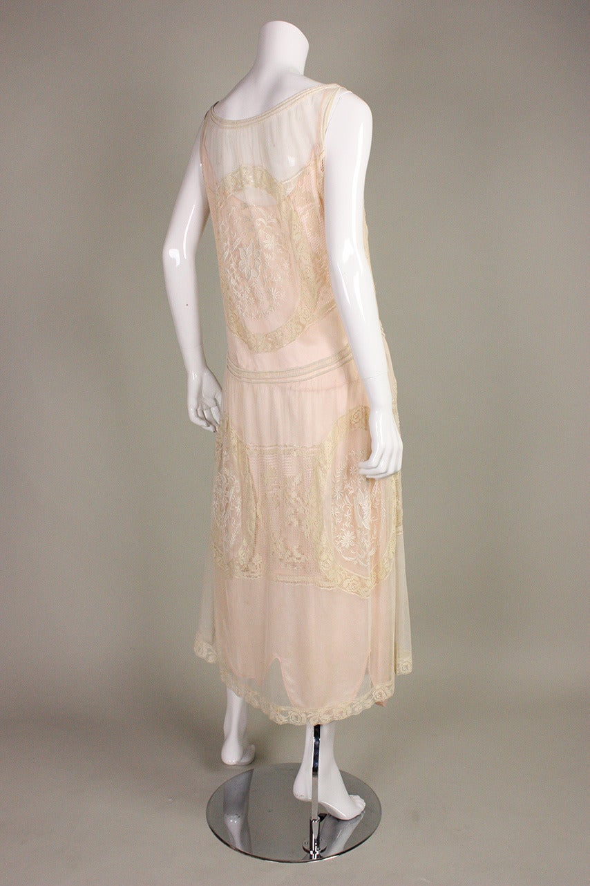 1920's Embroidered Net & Filet Lace Dress 6