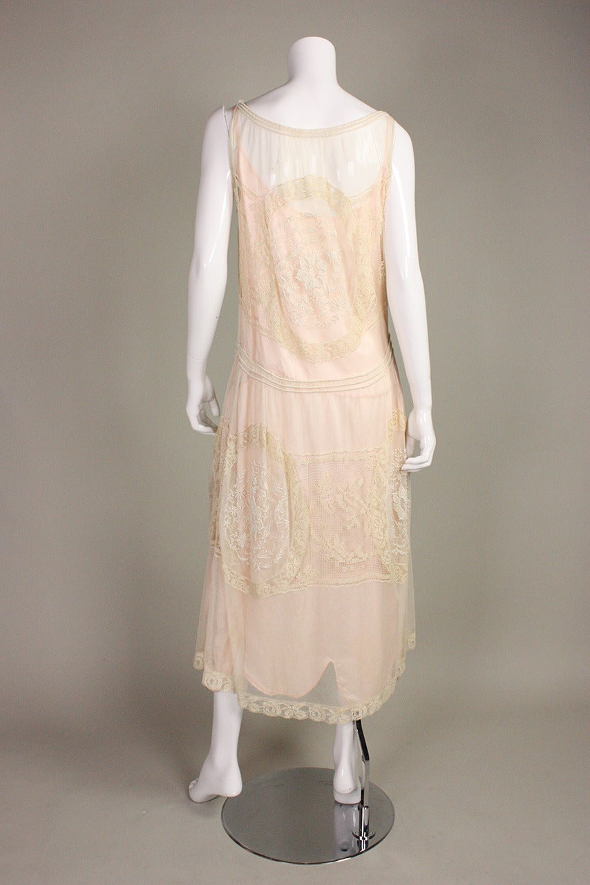 1920's Embroidered Net & Filet Lace Dress 5