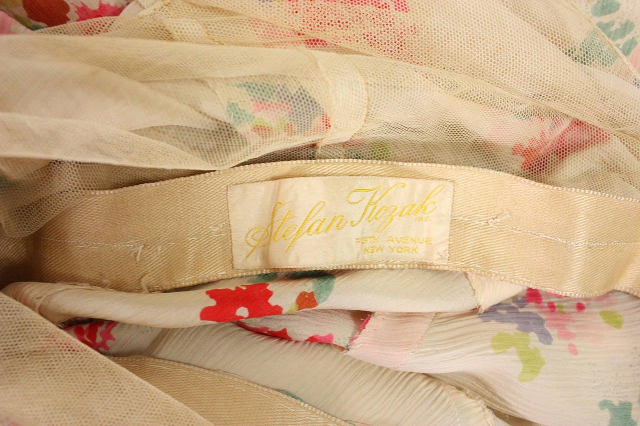 1930's Floral Bias Cut Gown For Sale 5