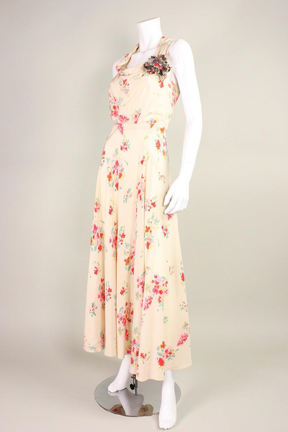 1930's Floral Bias Cut Gown For Sale 1