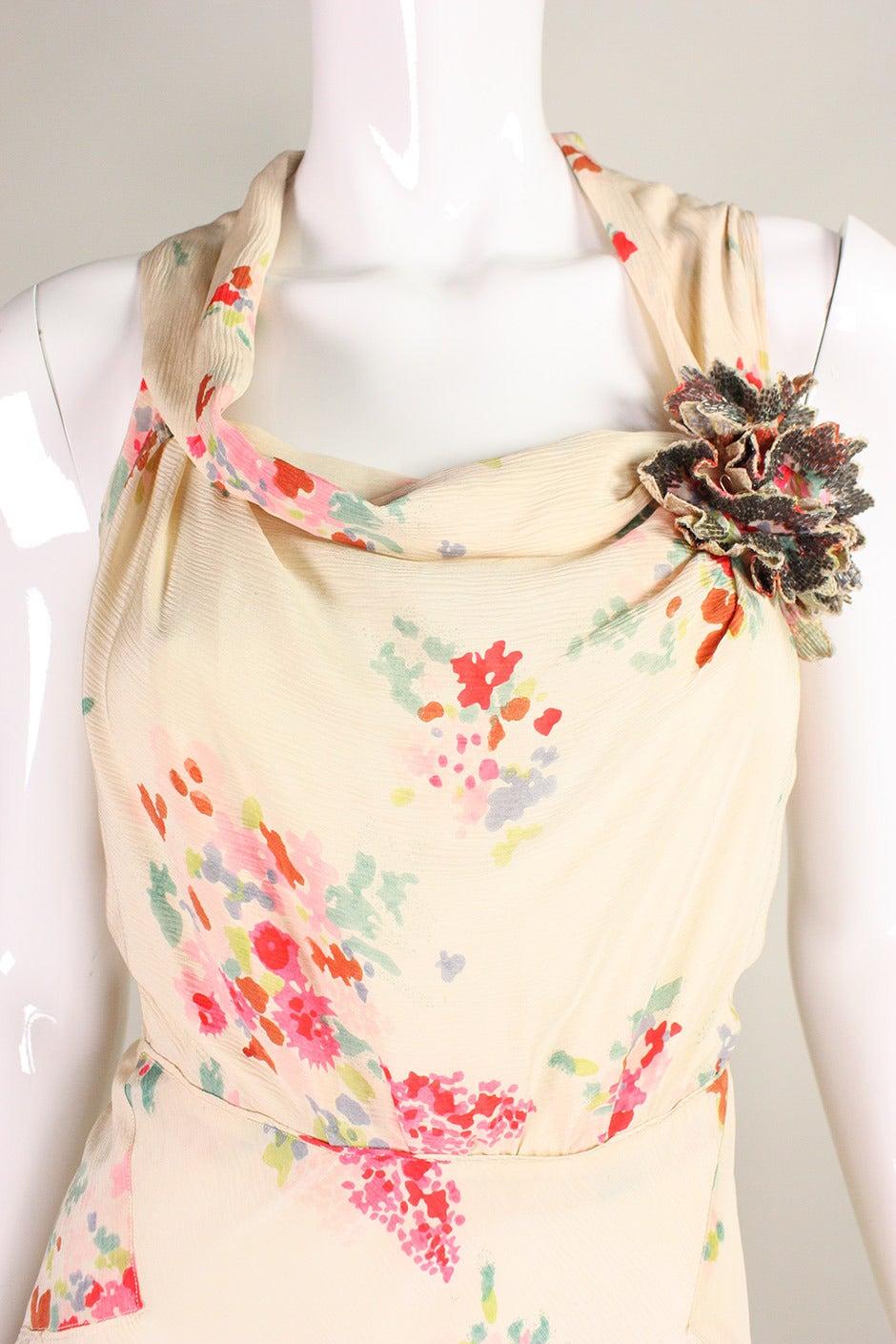 1930's Floral Bias Cut Gown For Sale 2