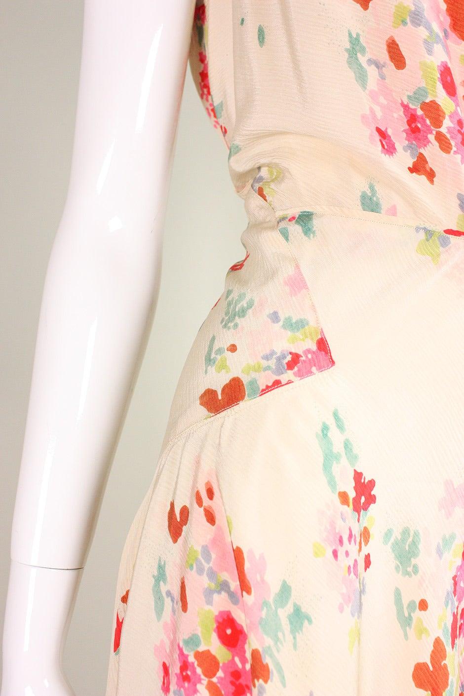 1930's Floral Bias Cut Gown For Sale 3