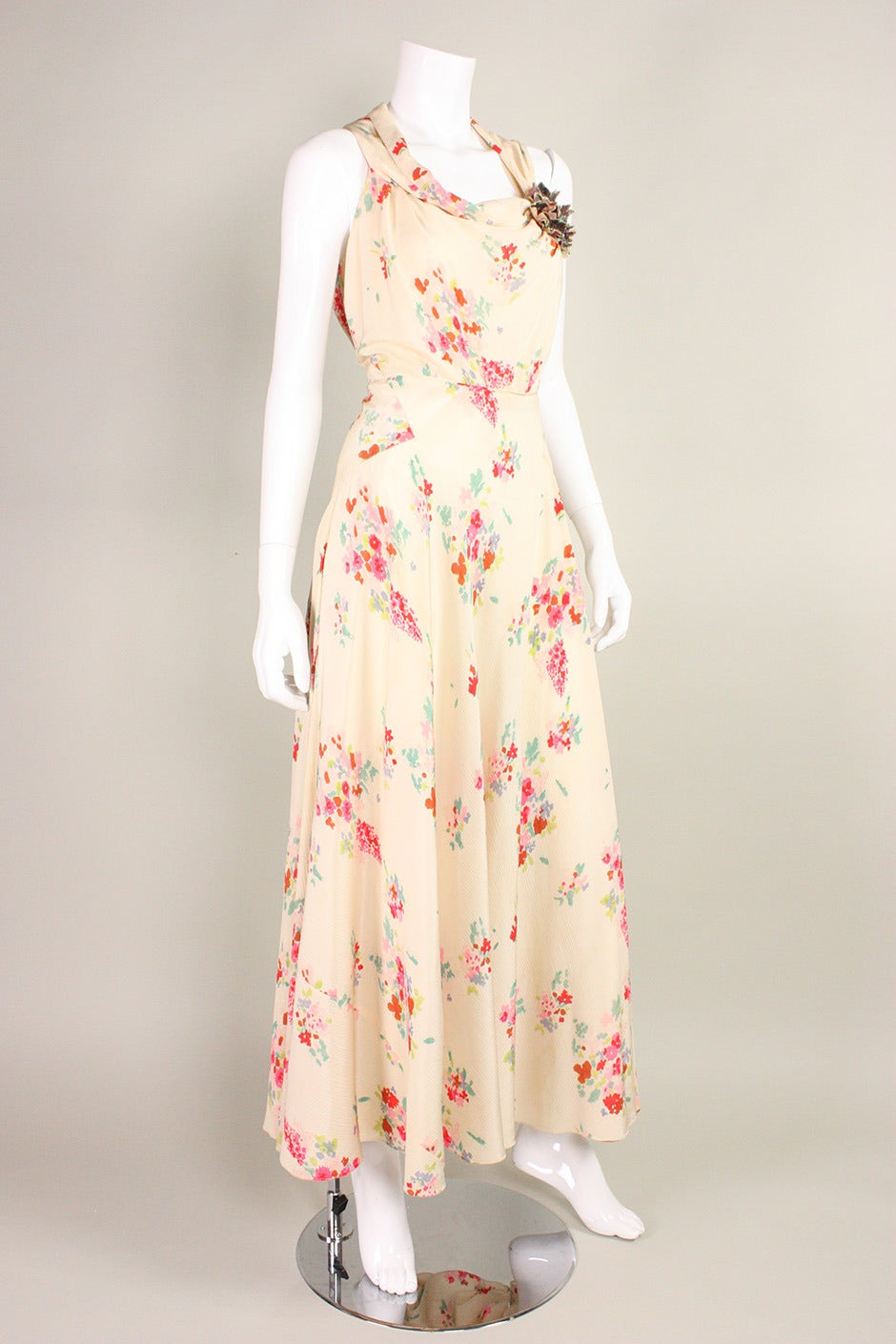1930 S Floral Bias Cut Gown For Sale At 1stdibs