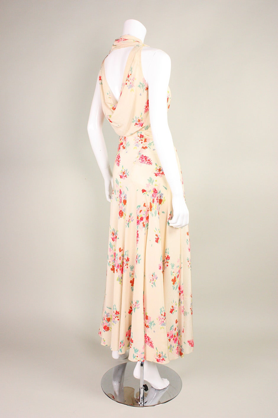 1930's Floral Bias Cut Gown In Excellent Condition For Sale In Los Angeles, CA
