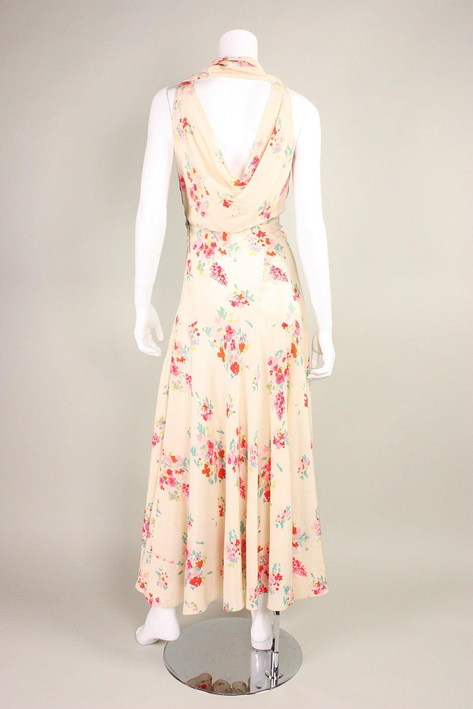 Women's 1930's Floral Bias Cut Gown For Sale