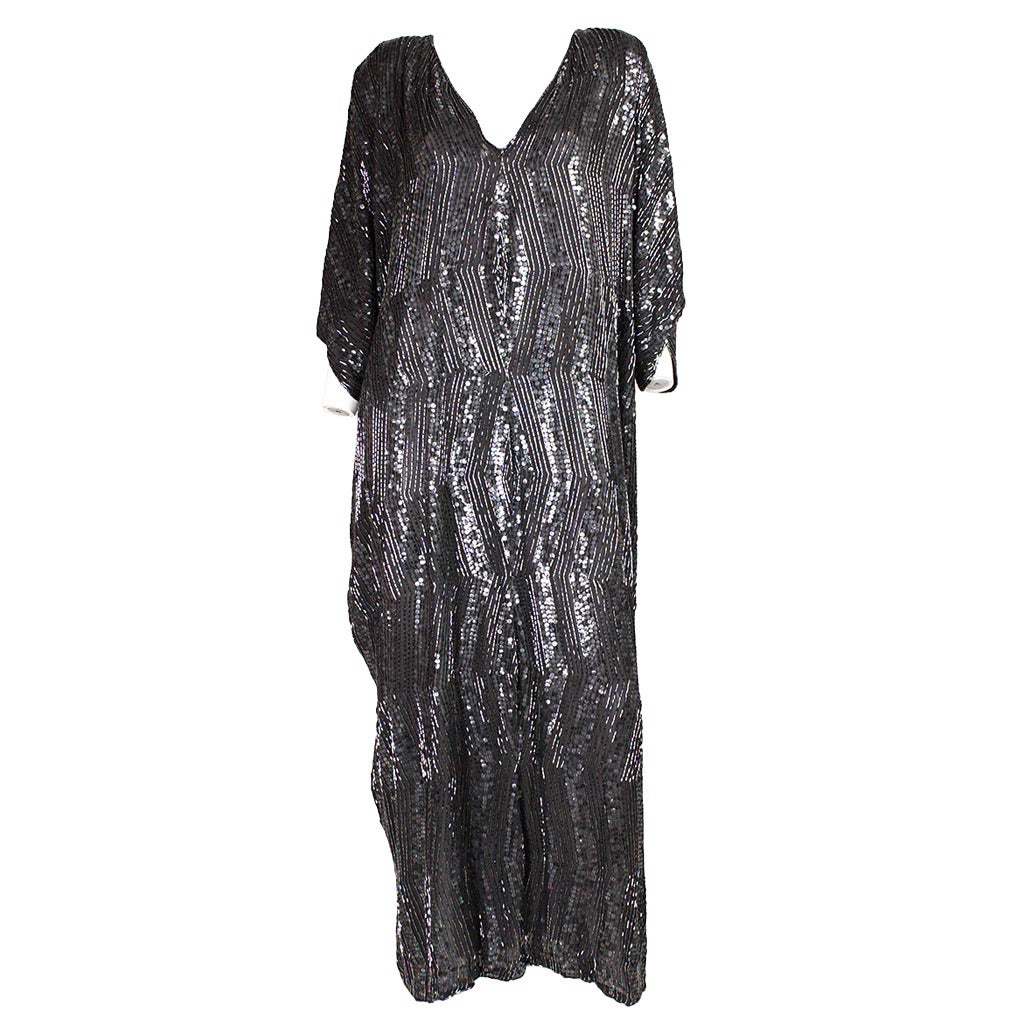 1980's Judith Ann Sequined Caftan For Sale