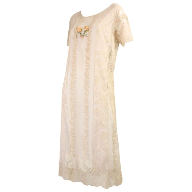 1920's Embroidered Net & Filet Lace Dress