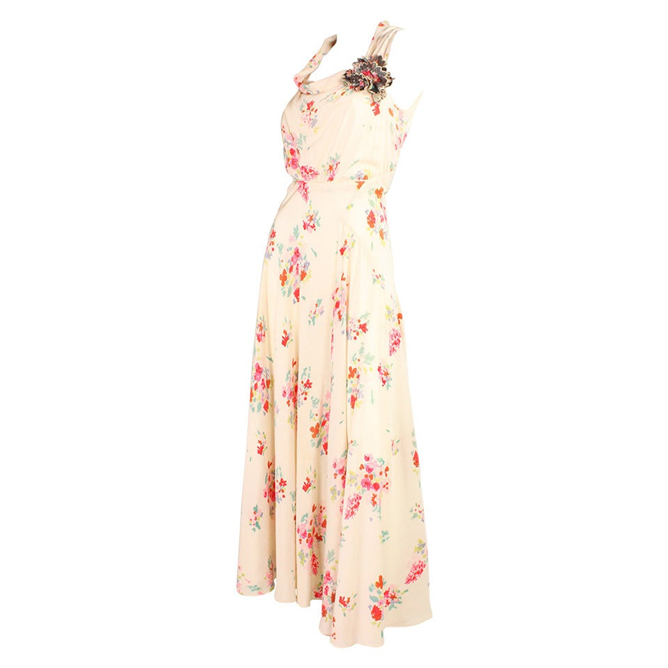 1930's Floral Bias Cut Gown For Sale