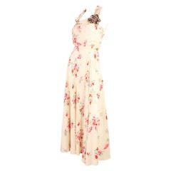 1930's Floral Bias Cut Gown