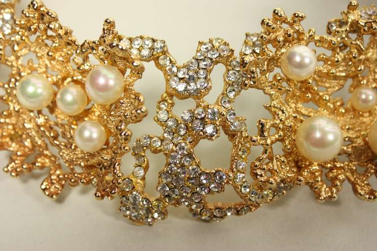 Rare 1968 Christian Dior Necklace with Faux Pearls & Rhinestones 3