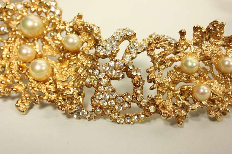 Rare 1968 Christian Dior Necklace with Faux Pearls & Rhinestones 6