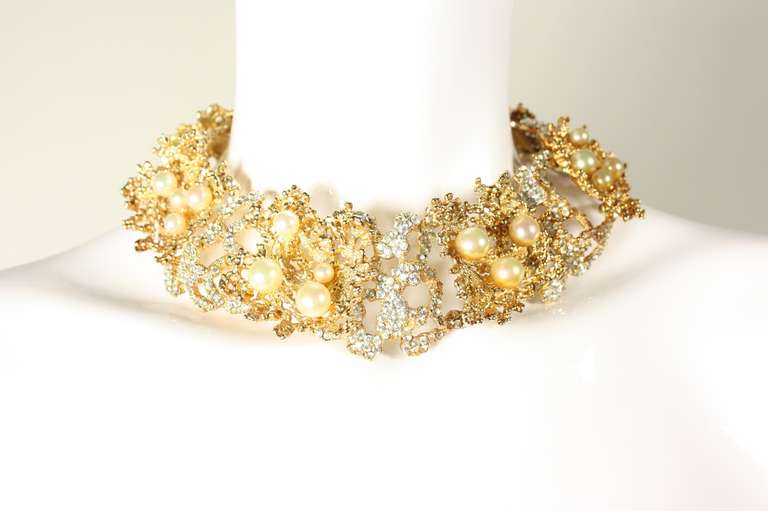 Rare 1968 Christian Dior Necklace with Faux Pearls & Rhinestones 2
