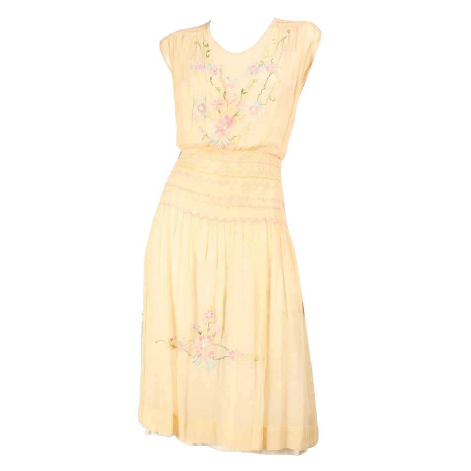 1920's Peach Voile Dress with Floral Embroidery & Smocking For Sale