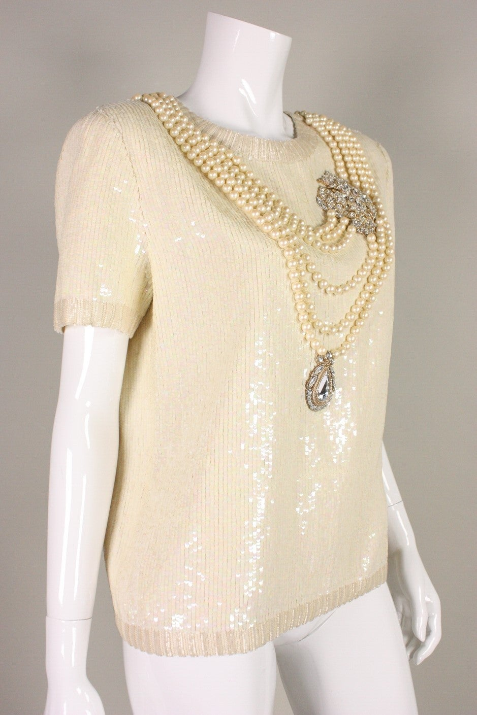 Vintage Bill Blass Sequined Encrusted Blouse with Trompe l'Oiel Details 2