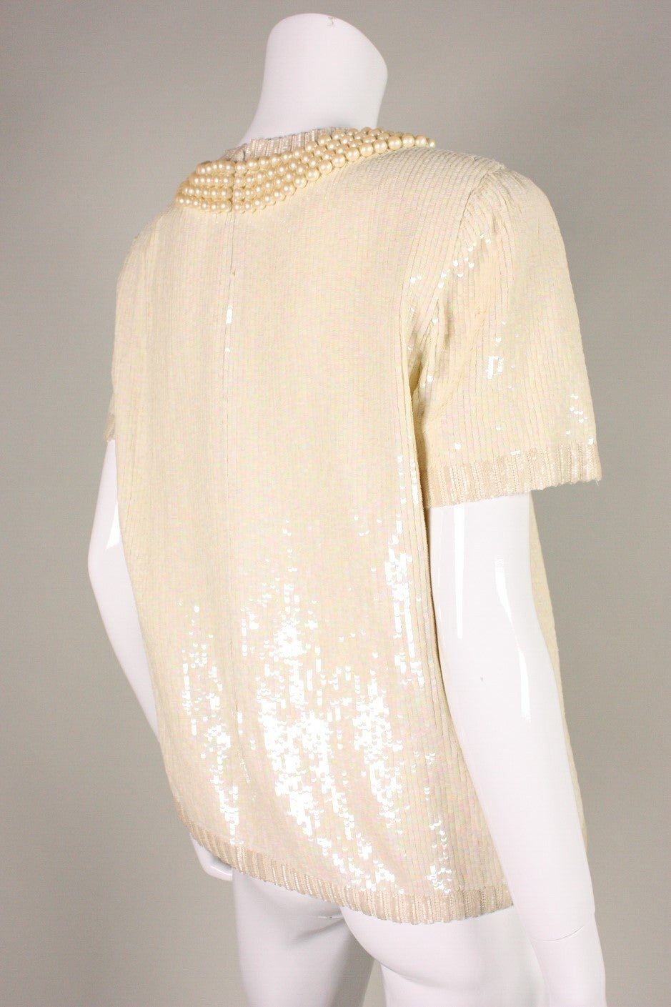 Vintage Bill Blass Sequined Encrusted Blouse with Trompe l'Oiel Details 3
