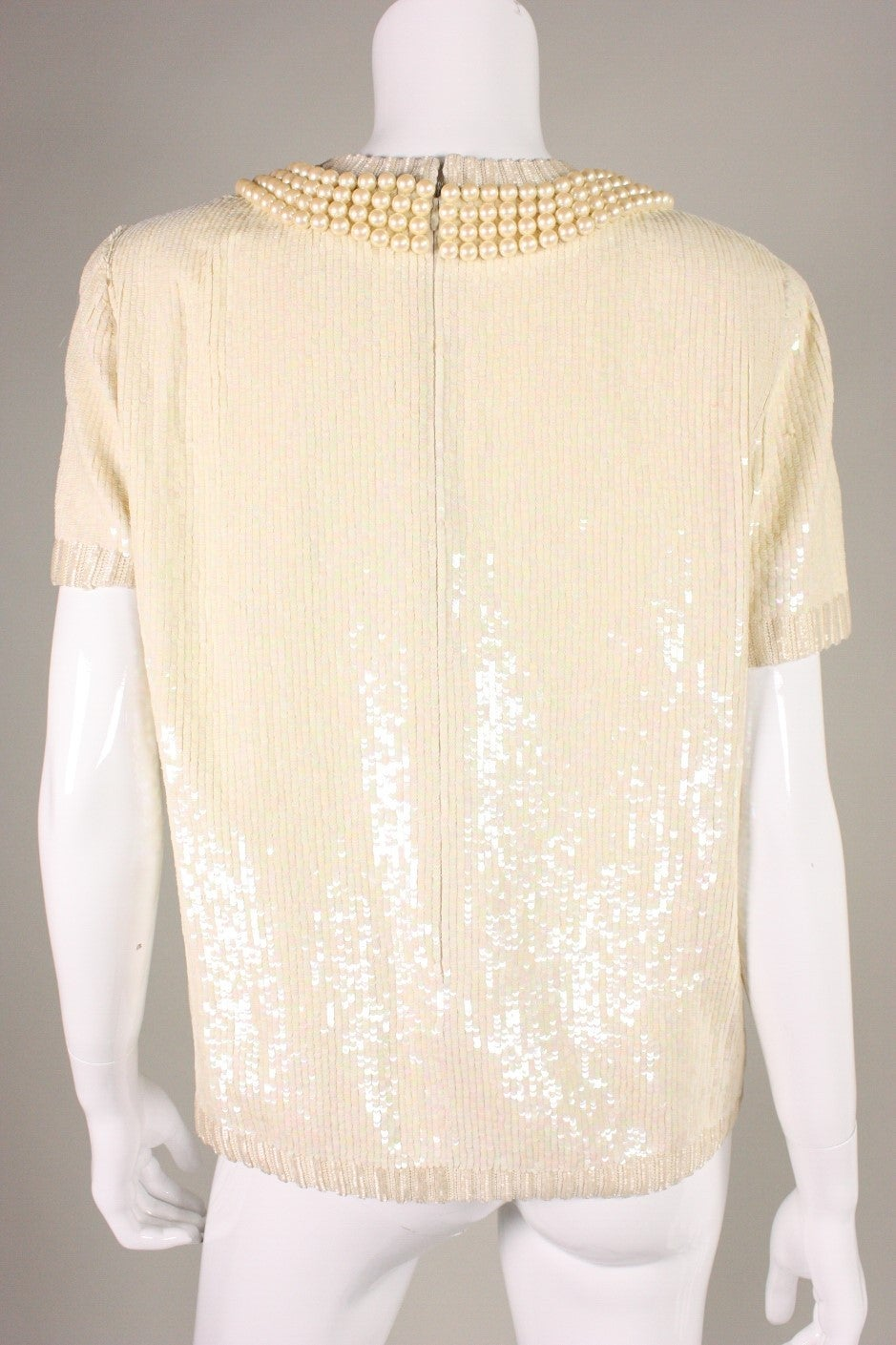 Vintage Bill Blass Sequined Encrusted Blouse with Trompe l'Oiel Details 4