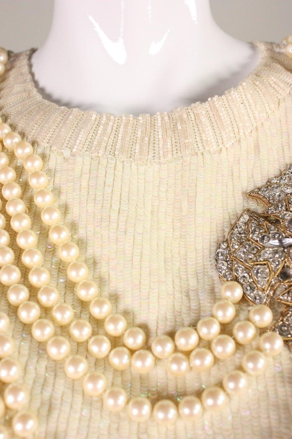 Vintage Bill Blass Sequined Encrusted Blouse with Trompe l'Oiel Details 6