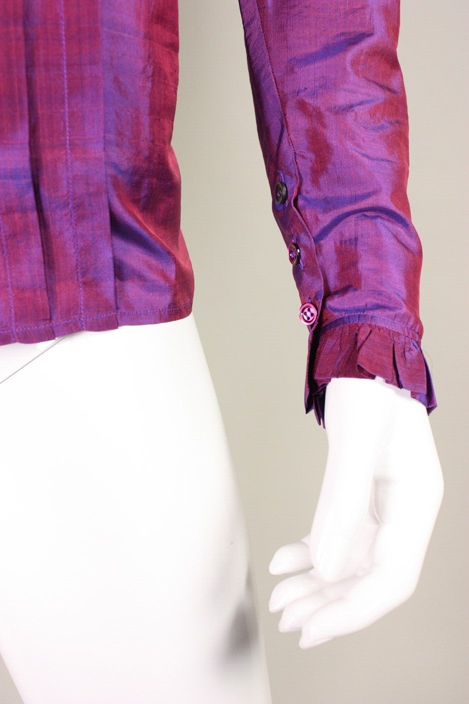 1970's Yves Saint Laurent Silk Blouse with Ruffle Detail 6