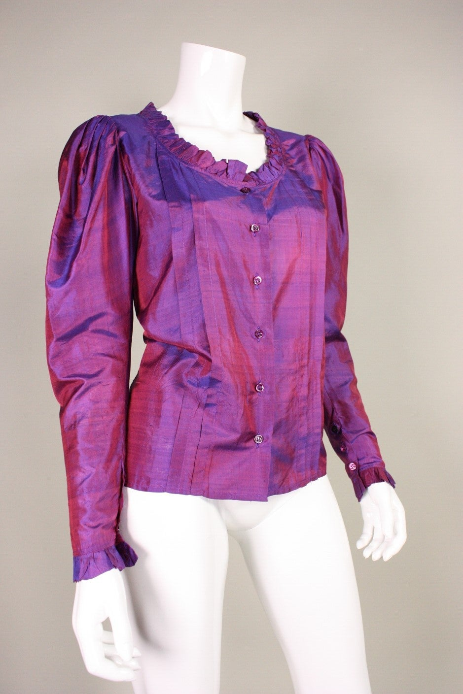 1970's Yves Saint Laurent Silk Blouse with Ruffle Detail 2