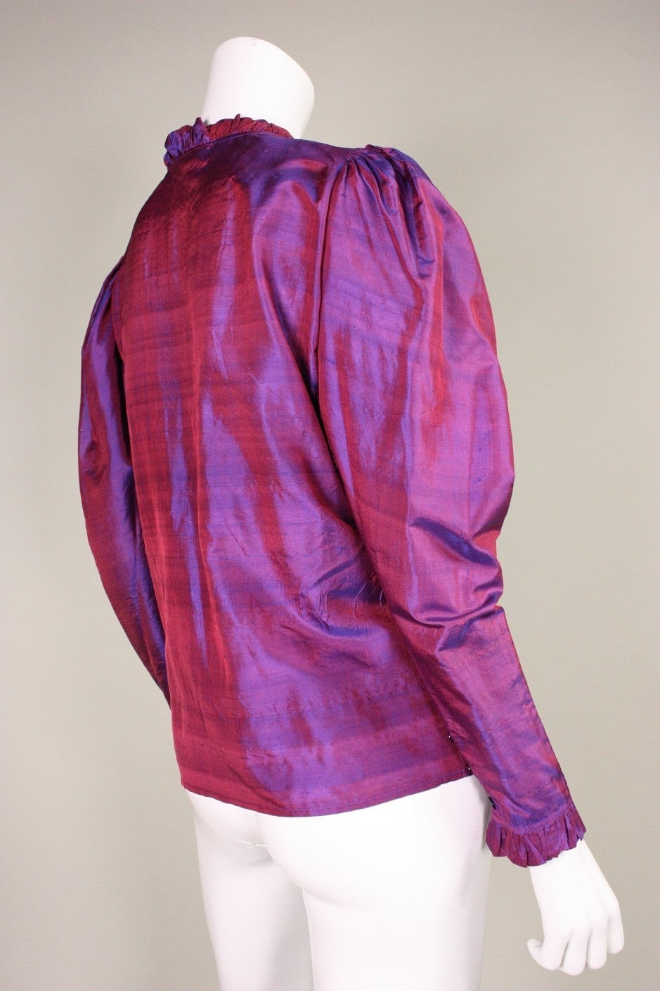 1970's Yves Saint Laurent Silk Blouse with Ruffle Detail 3