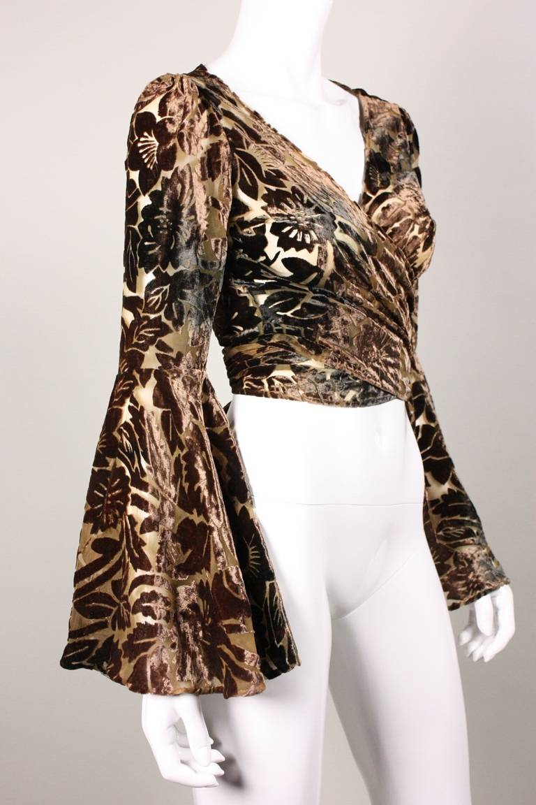 Norma Kamali Cut Velvet Blouse with Bell Sleeves 2
