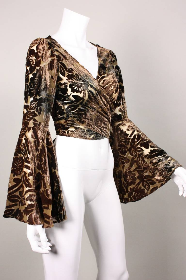 Norma Kamali Cut Velvet Blouse with Bell Sleeves 3
