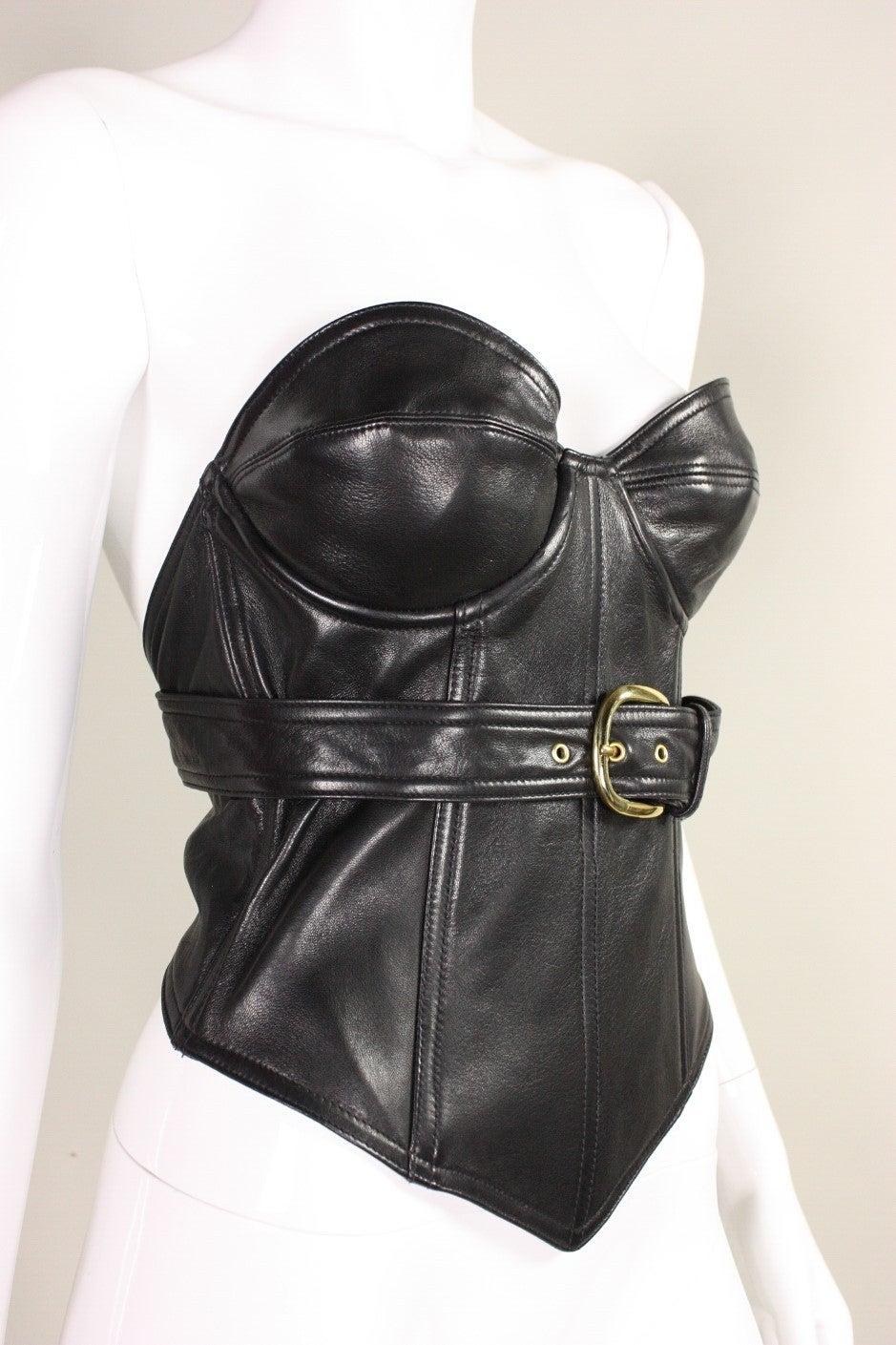 1990 39 S Isaac Mizrahi Black Leather Bustier At 1stdibs