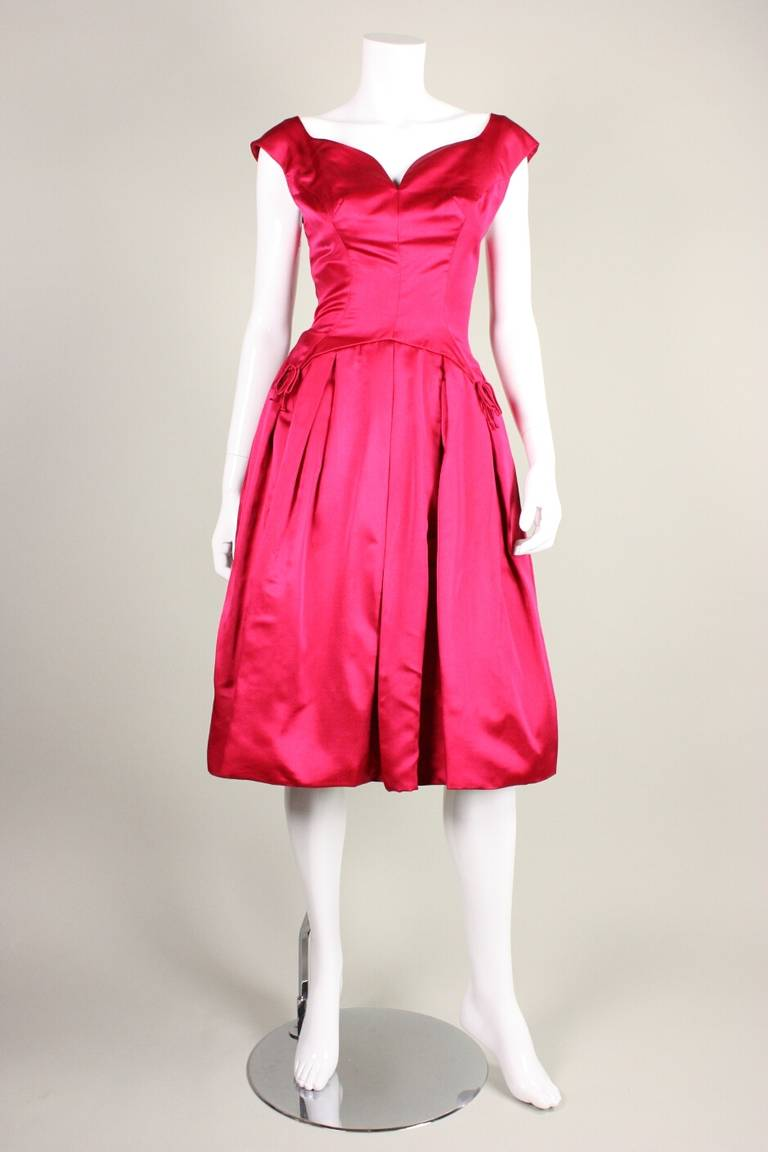 1950's Frank Starr Magenta Satin Cocktail Dress 2