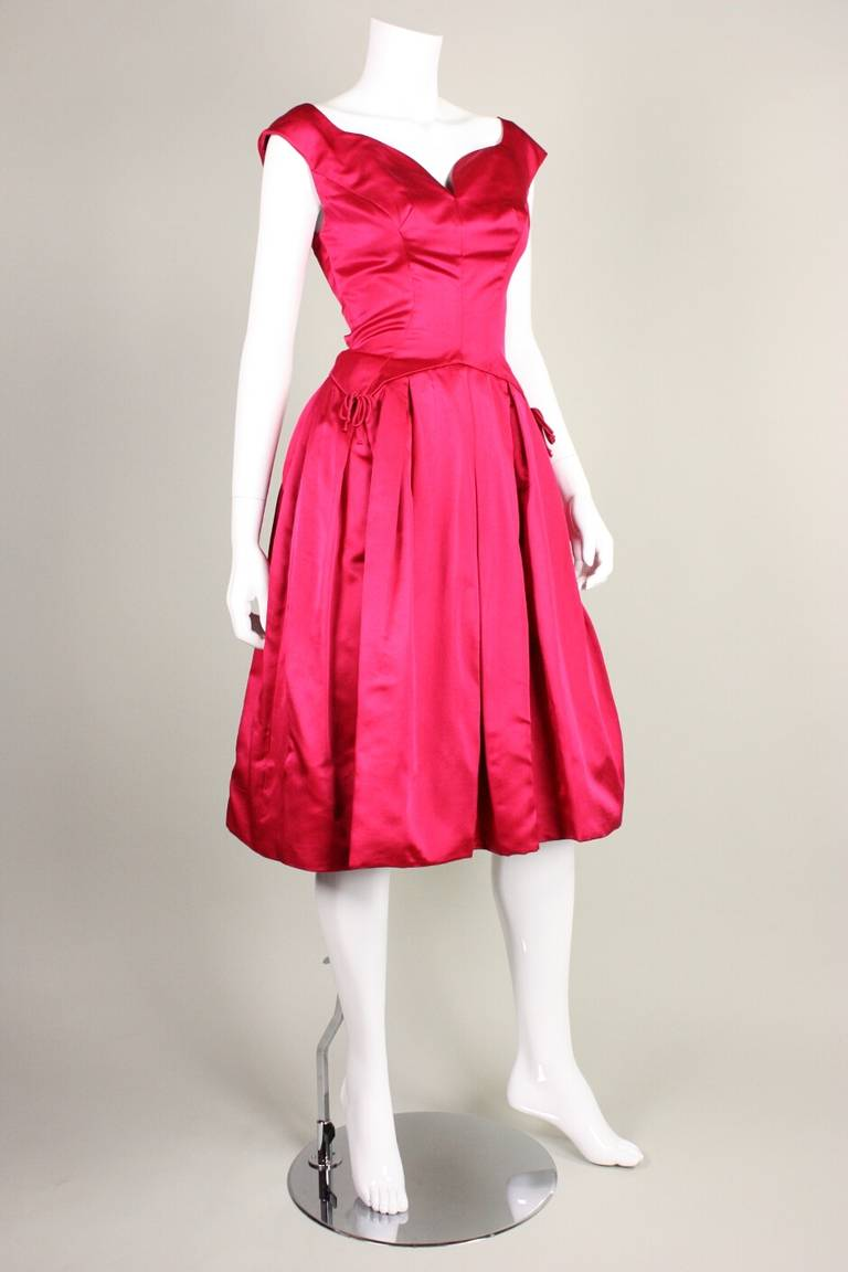 1950's Frank Starr Magenta Satin Cocktail Dress 3