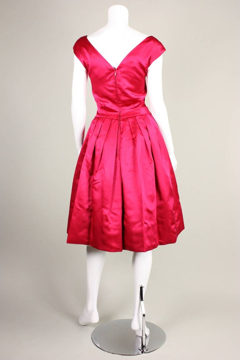 1950's Frank Starr Magenta Satin Cocktail Dress 5