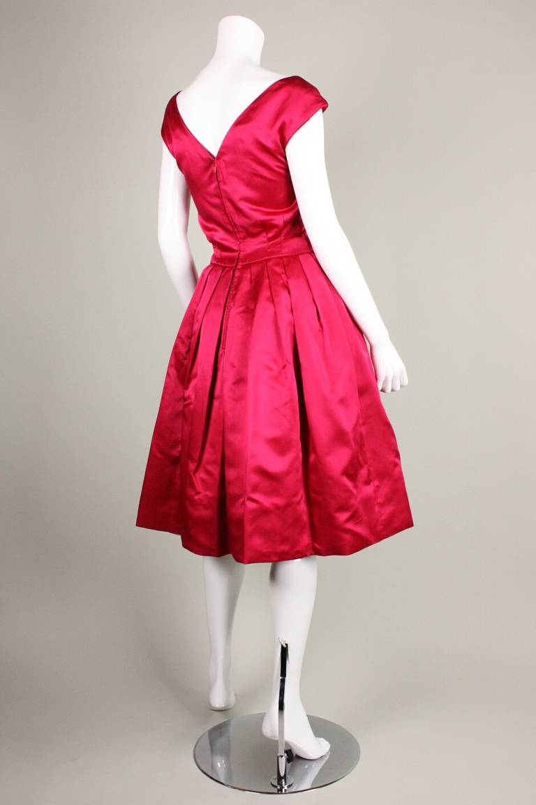 1950's Frank Starr Magenta Satin Cocktail Dress 4