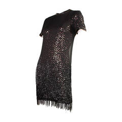 1980s Bob Mackie Sequined Dress with Beaded Fringe