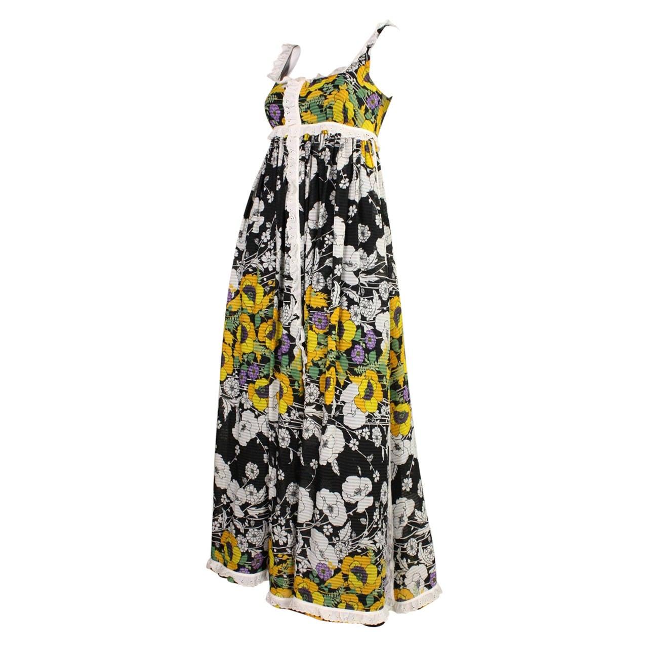 1970's Jean Varon Floral Maxi Dress