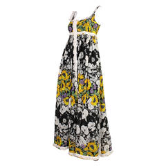 1970's Jean Varon Floral Maxi Dress
