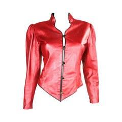 Ungaro Metallic Red Leather Jacket, 1980s