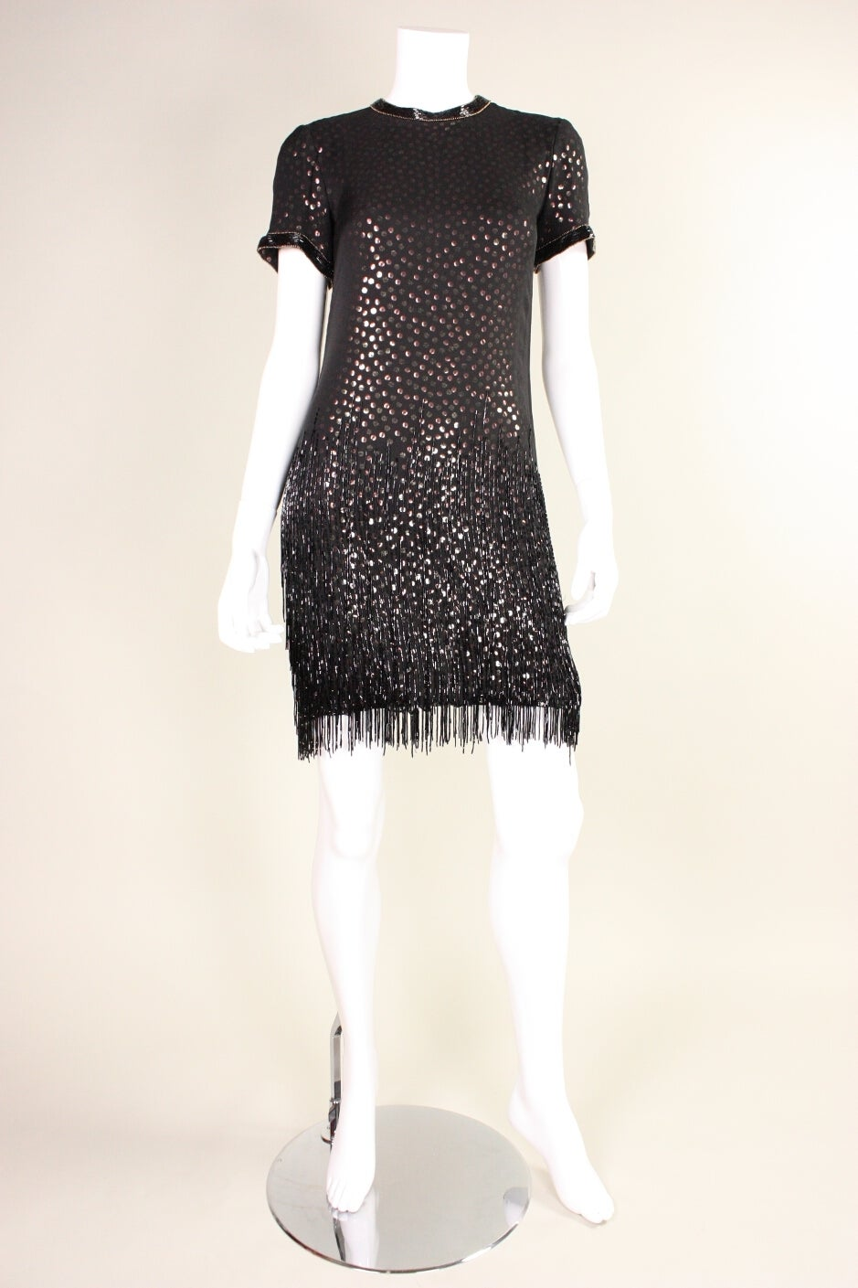 1980s Bob Mackie Sequined Dress with Beaded Fringe 2