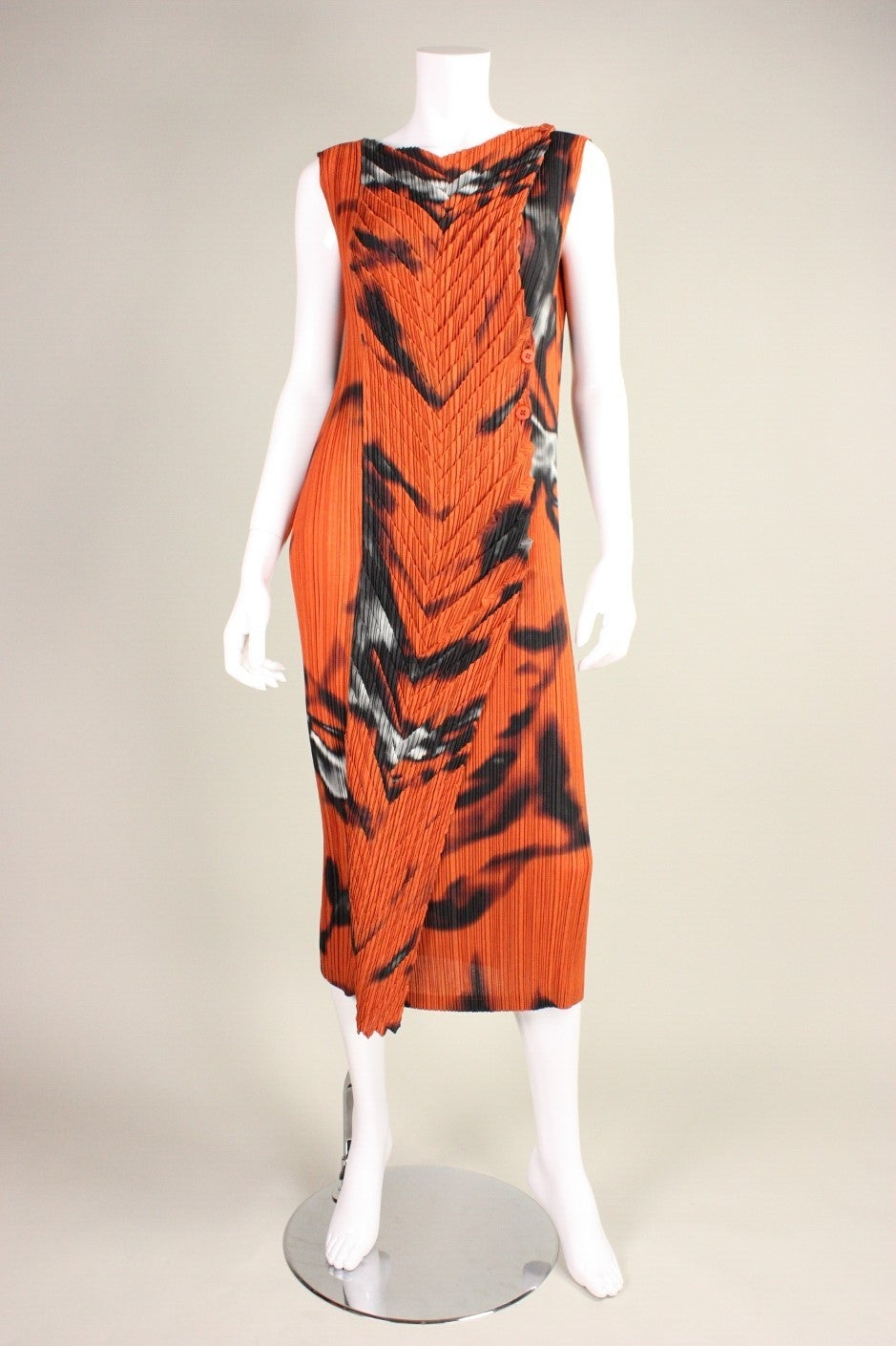 Orange Issey Miyake Pleated Dress with Abstract Print For Sale
