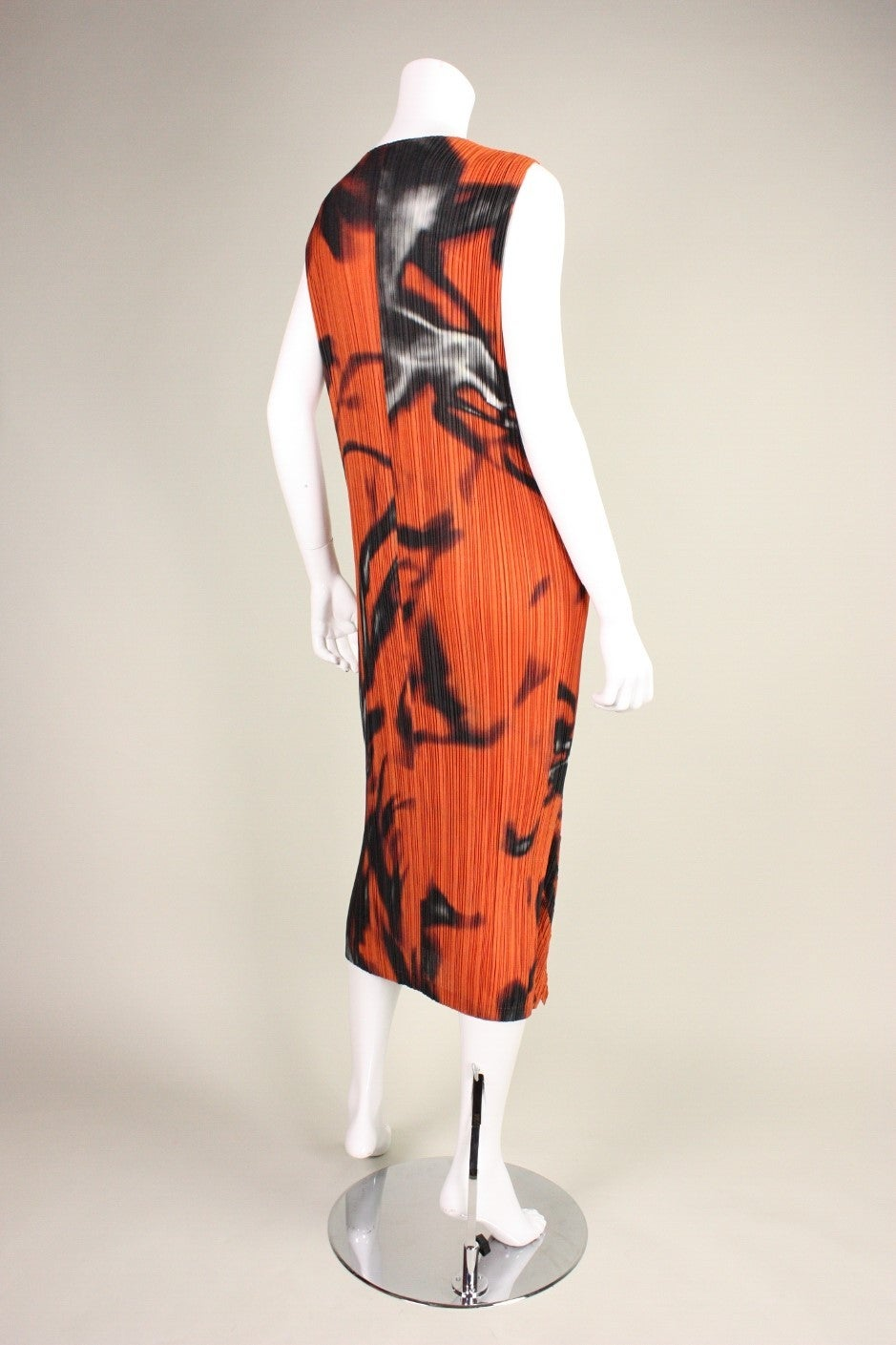 Women's Issey Miyake Pleated Dress with Abstract Print For Sale