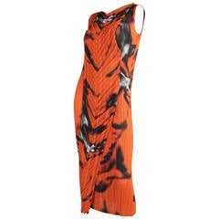 Issey Miyake Pleated Dress with Abstract Print